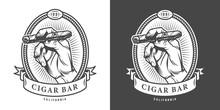 Vintage Monochrome Cigar Bar Label