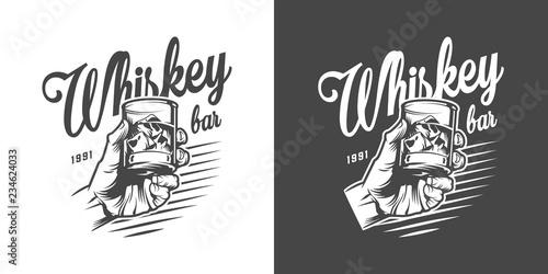 Monochrome whisky bar logotype Fototapeta