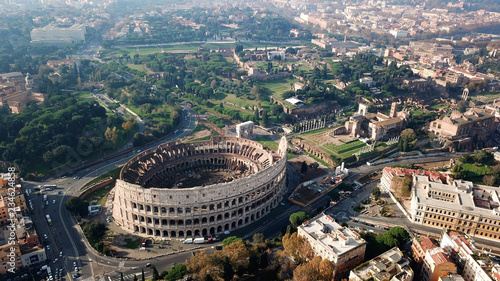 Aerial drone view of iconic ancient Arena of Colosseum, also known as the Flavia Tablou Canvas