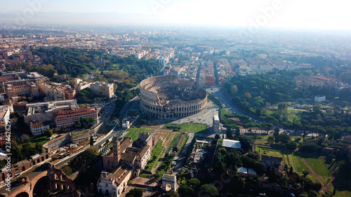 Fényképezés  Aerial drone view of iconic ancient Arena of Colosseum, also known as the Flavia
