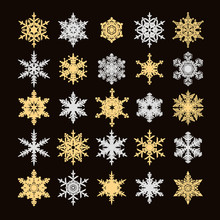 Set Of Gold And Silver Snowflakes Silhouette Isolated On Black Background. Vector Illustration.