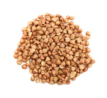 Buckwheat Grain Isolated On White Background Close Up. Top View