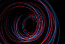 Multicolor Led Light Painting Round Trails Abstract Background On Black
