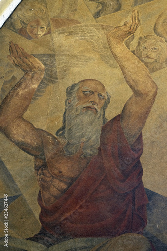 Prophet Ezekiel, fresco in the church of St Wallpaper Mural