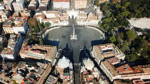 Aerial drone view of iconic Piazza del Popolo (People's Square) named after the Fototapeta