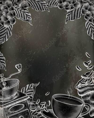 Coffee woodcut poster