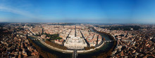 Aerial Drone Bird's Eye Panoramic View Of Iconic Neoclassic Building Of Supreme Court Of Cassation (Italian: Corte Suprema Di Cassazione) Next To Famous Cavour Square And River Of Tiber, Rome, Italy