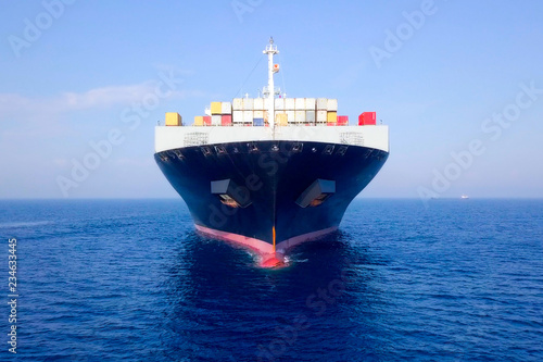Container ship at sea - Aerial image of a ULCV (Ultra large container vessel) loaded with various container brands Wallpaper Mural