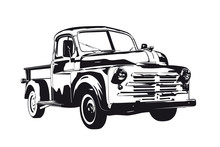 Vintage Pickup Truck From 1950 Vector Silhouette