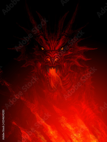 Mighty dragon head Fototapet