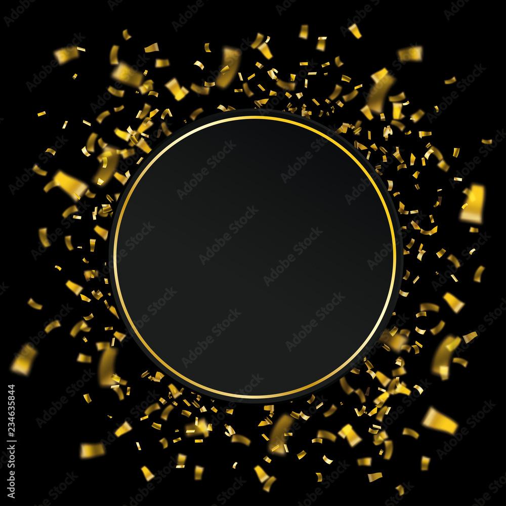 Fototapeta Paper Circle Golden Confetti