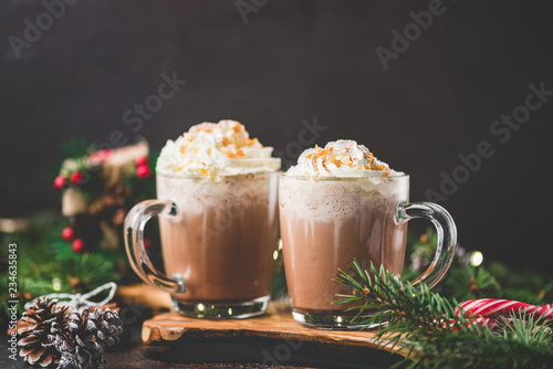 Hot chocolate with whipped cream on black background surrounded with fir tree branches. Hot Christmas drink. Comfort food for winter holidays. Copy space for text