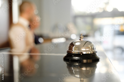Modern luxury Hotel Reception Counter desk with Bell Fototapete