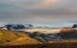 Stunning sunset with and Myrdalsjokull glacier, Katla caldera, Botnar-Ermstur, Laugavegur Trail, southern Iceland