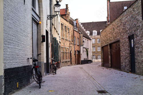 narrow street in old town Brugge