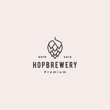 Hop Brew Brewery Logo Vector Hipster Retro Vintage Label Illustration