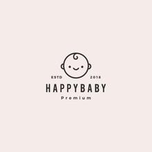 Happy Baby Toddler Babies Logo Vector Hipster Retro Vintage Label Illustration