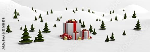 Fototapeta Fond sapins et cadeaux de Noël dans la neige obraz