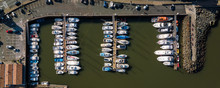 Aerial Top Down Picture Of Marina A Dock Basin And Boats