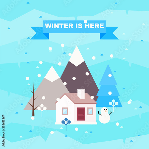Poster Turquoise Winter landscape background with cottage.