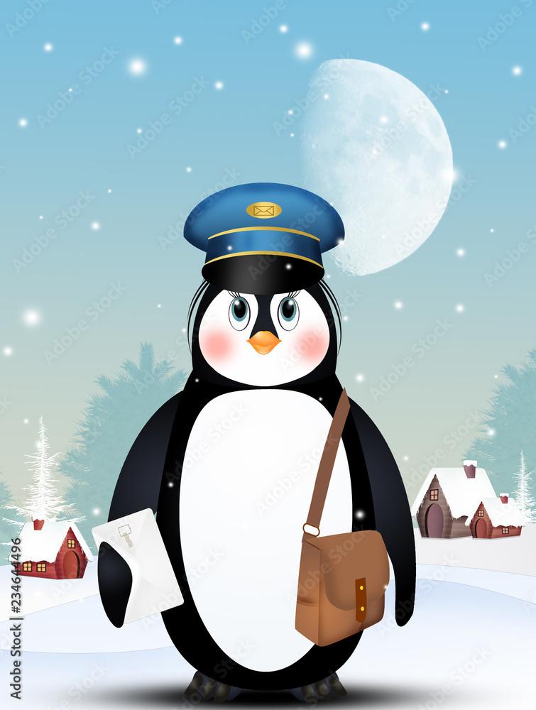 illustration of penguin postman