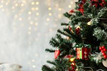 Beautiful Christmas Balls Hanged On The Christmas Tree Branch