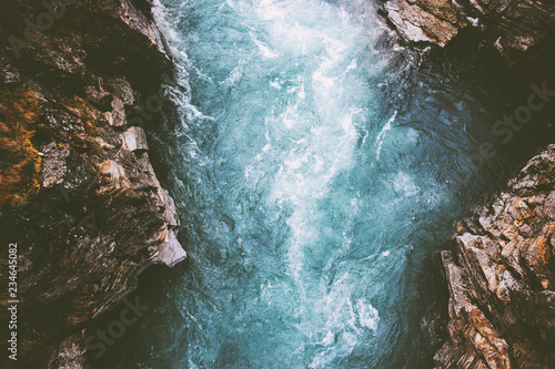 Fotobehang Natuur River canyon landscape in Sweden Abisko national park travel aerial view wilderness nature moody scenery