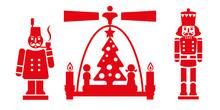 Weihnachtsdekoration Aus Dem Erzgebirge - Räuchermännchen, Weihnachtspyramide Und Nussknacker