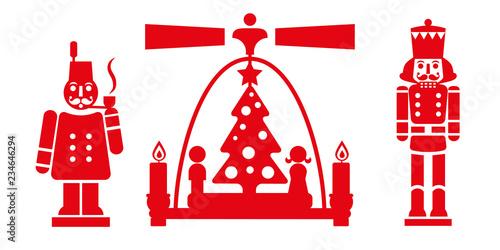 Cuadros en Lienzo  Weihnachtsdekoration aus dem Erzgebirge - Räuchermännchen, Weihnachtspyramide un