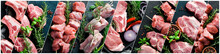 Collage Of Raw Meat. On A Blac...