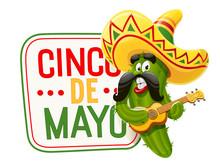 Character For Cinco De Mayo Celebration. Green Cactus Jalapeno