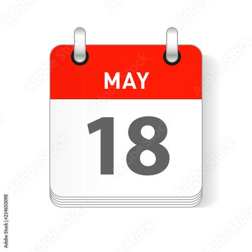 May 18 Calendar Date Design Wallpaper Mural