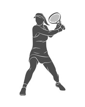 Silhouette Tennis Player With A Racket On A White Background