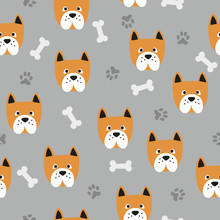 Seamless Cute Dog Pattern. Vector Background With Bulldogs, Paws And Bones.