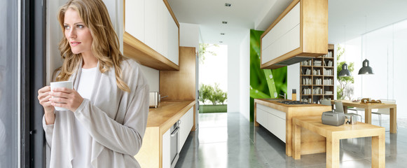 Woman with mug in modern house