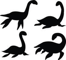 Loch Nessie Set Silhouette On ...