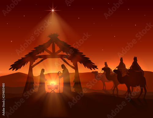 Fototapeta Christian Christmas with Wise Men and Jesus on Night Background