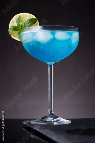 Cold blue lagoon cocktail