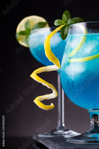 Icy blue lagoon cocktails