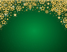 Green Christmas Card With  Frame Of Golden Glittering Snowflakes And Stars, Vector Illustration