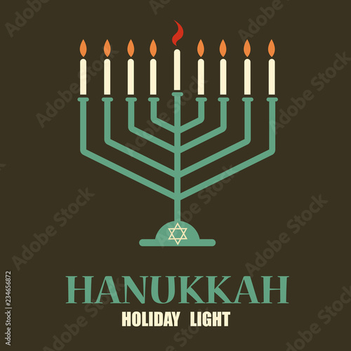 Hanukkah candles with menorah and david star. Festive background Wallpaper Mural