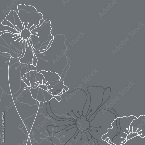 Fotomural Mourning Card Grey Flowers