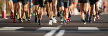 Marathon Runners Running On Ci...