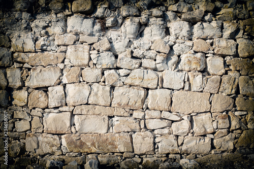 Foto op Aluminium Wand Old bricks brown wall background. Stones pattern. Castle outdoor wall.
