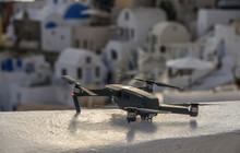 A Drone With Cityscape Of Santorini