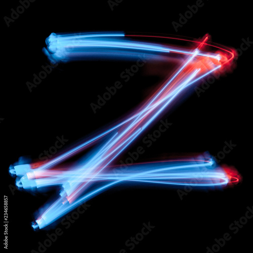 Letter Z of the alphabet made from neon sign Poster Mural XXL