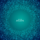 Abstract futuristic gradient blue arrows shape technology circle background.