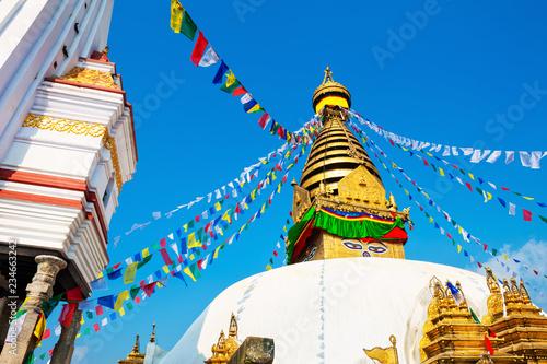 In de dag Aziatische Plekken Stupa in Swayambhunath Temple in Kathmandu, Nepal