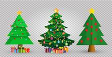 Set Of Cute Cartoon Christmas Fir Trees On Transparent Background