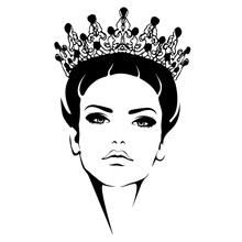 Woman In Crown. Queen Black And White Silhouette